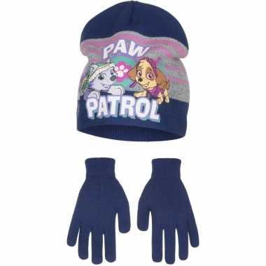 Paw patrol winterset muts en handschoenen blauw voor jongens