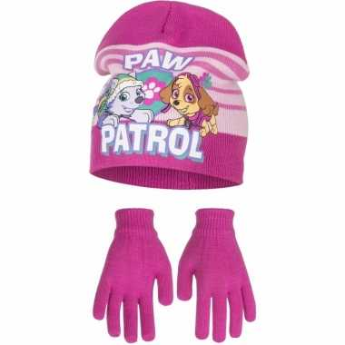 Paw patrol winterset muts en handschoenen fuchsia voor meiden