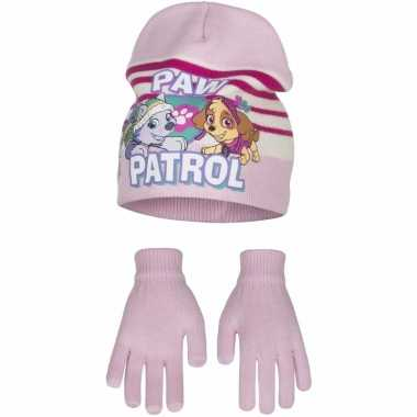 Paw patrol winterset muts en handschoenen roze voor meiden