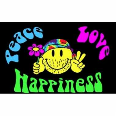 Peace, love and happiness vlaggen
