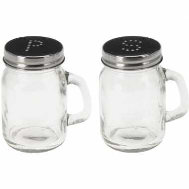 Peper en zout mason jars 8,5 cm