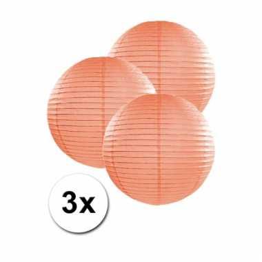 Perzik kleurige lampionnen 25 cm 3 stuks