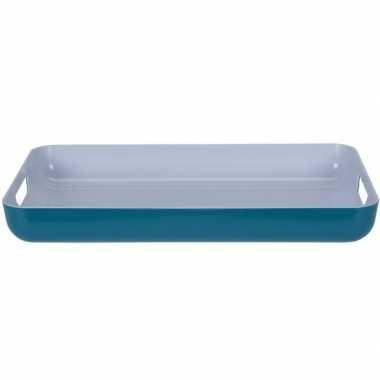 Petrol blauw/wit dienblad rechthoek 42 cm