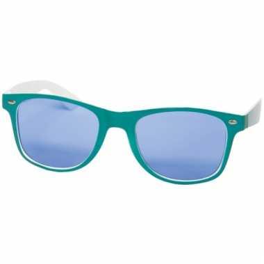 Petrolblauwe feestbril met blauwe glazen