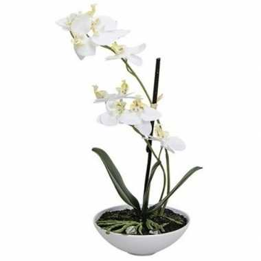 Phalaenopsis kunst plant in pot 25 cm wit