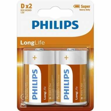Phillips long life batterijen r20 1,5 volt 2 stuks