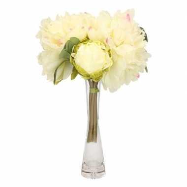 Pioenroos boeket wit kunstbloem met smal vaasje 25 cm