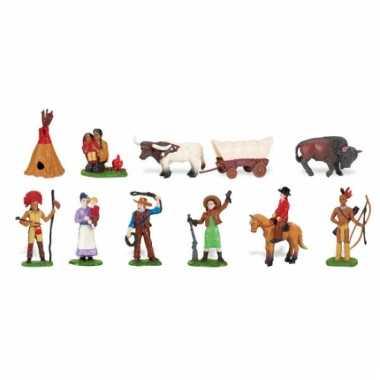 Plastic indianen en cowboys in koker