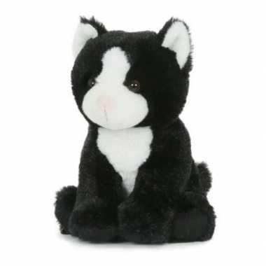 Pluche speelgoed poes/kat knuffeldier zwart/wit 18 cm