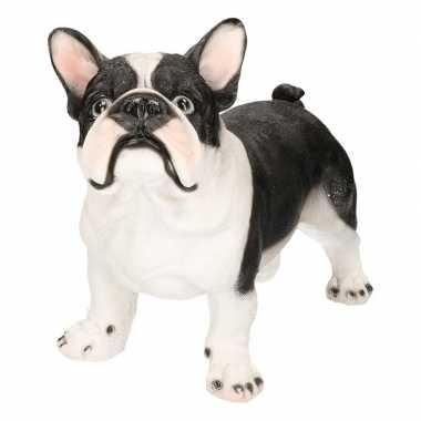 Polystone tuinbeeld zwart/witte franse bulldog 38 cm