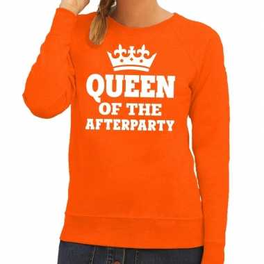 Queen of the afterparty sweater oranje dames