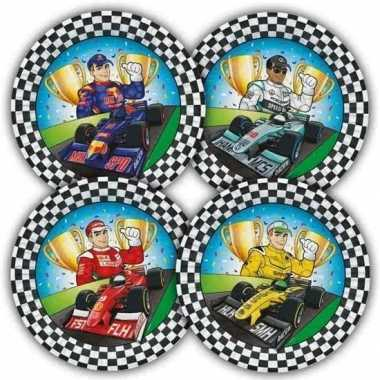 Race/formule 1 thema bordjes 23 cm 16 stuks