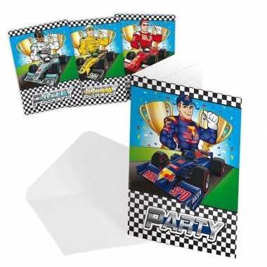 Race/formule 1 thema uitnodiging 8 stuks