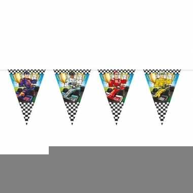 Race/formule 1 thema vlaggenlijn grote vlaggetjes