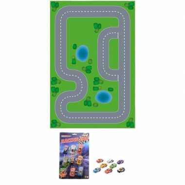Racecircuit diy speelgoed stratenplan/ kartonnen speelkleed + 8x race