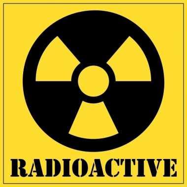 Radioactief gevaarsymbool sticker 10,5 cm