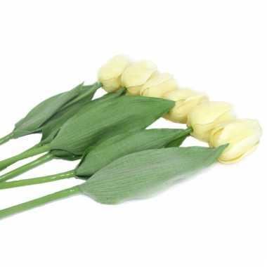 Realistische creme tulpen bos 48 cm