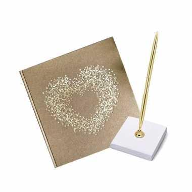 Receptie gastenboek goud hart met pen