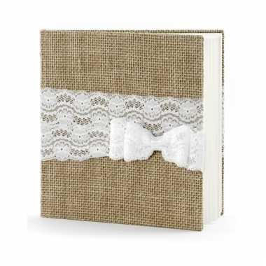 Receptie gastenboek van jute met strik