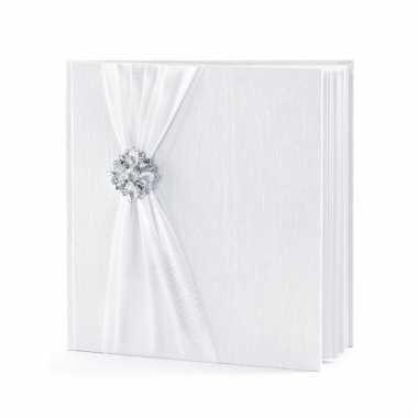 Receptie gastenboek wit met rozet