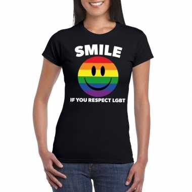 Regenboog emoticon smile if you respect lgbt shirt zwart dames