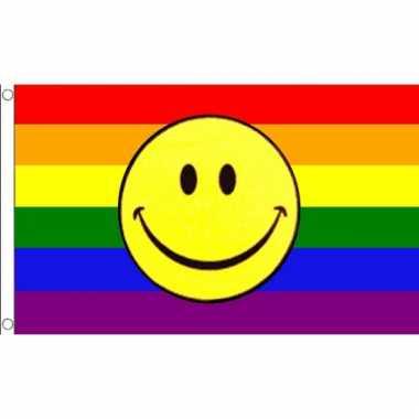 Regenboog gevelvlag met smiley
