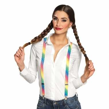 Regenboog kleuren bretels voor dames