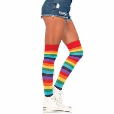 Regenboog kleuren dames kousen