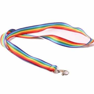 Regenboog kleurige lanyard 90 cm