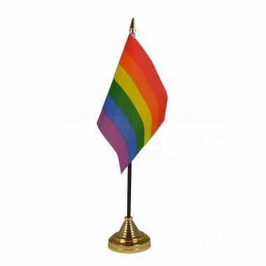 Regenboog versiering tafelvlag 10 x 15 cm