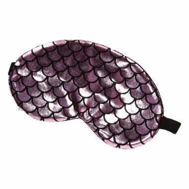 Reis slaapmasker/oogmasker zeemeermin schubben roze/zwart voor volwas