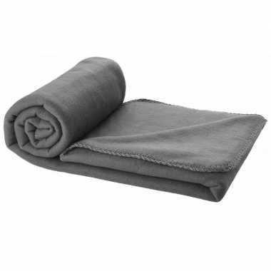 Reisdeken grijs met tasje 150 cm
