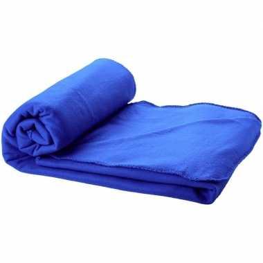 Reisdeken kobalt blauw met tasje 150 cm