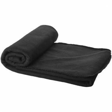 Reisdeken zwart met tasje 150 cm