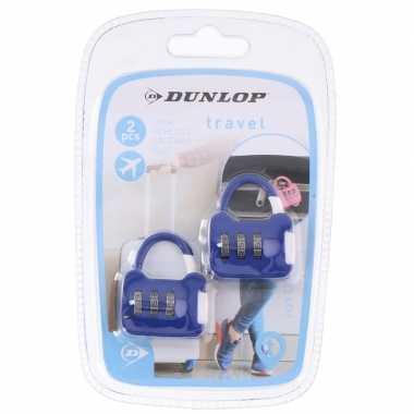 Reistassen slotjes met cijferslot blauw 2 stuks