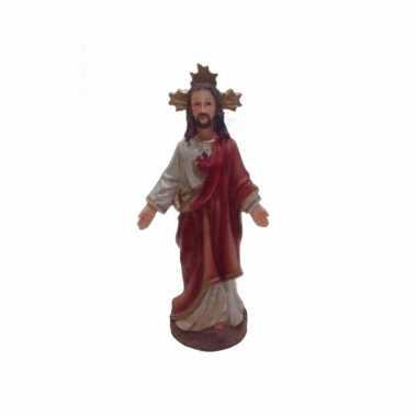 Religieus jezus beeldje heilige hart 13 cm