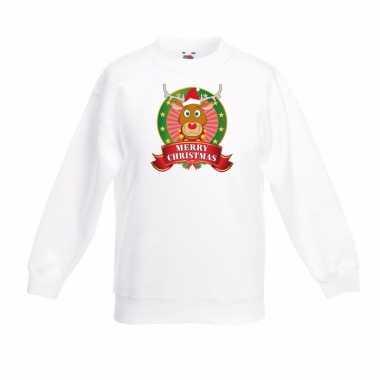 Rendier rudolf kerstmis sweater wit voor jongens