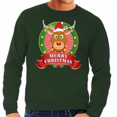 Rendieren kersttrui groen merry christmas heren