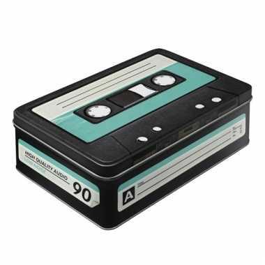Retro cassetteband bewaarblik plat 23 cm