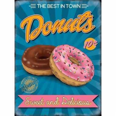 Retro metalen plaatje donuts