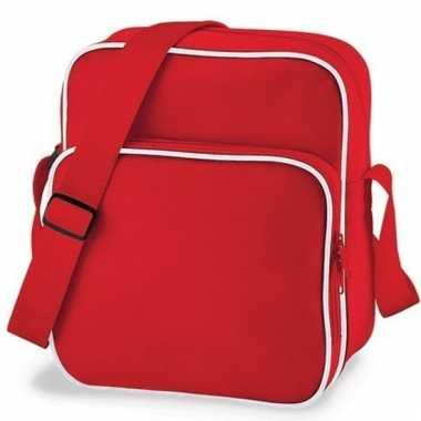 Retro schoudertasje rood/wit 10 liter