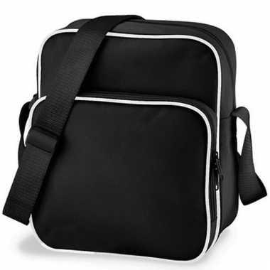 Retro schoudertasje zwart 10 liter