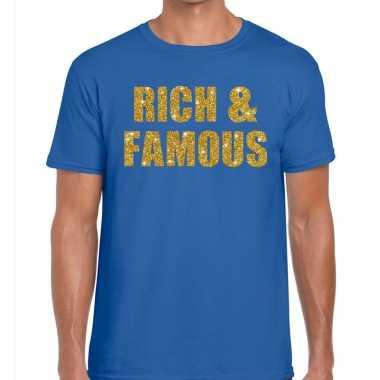 Rich and famous fun t-shirt blauw voor heren