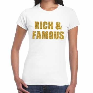 Rich and famous goud fun t-shirt wit voor dames