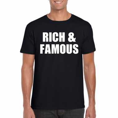 Rich & famous fun t-shirt zwart voor heren