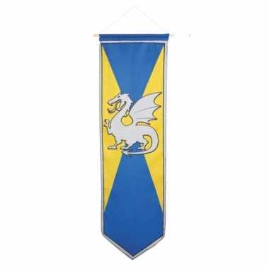 Ridder wapenschild op vlag blauw/geel