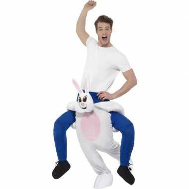 Ride on dierenpak kostuum konijn voor volwassenen