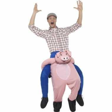 Ride on dierenpak kostuum varken voor volwassenen