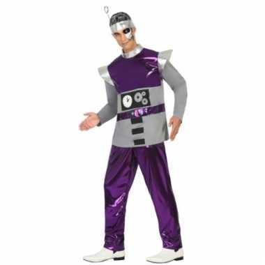 Robot verkleedkleding paars voor heren