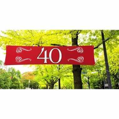 Rode 40 jaar spandoek 180 x 40 cm